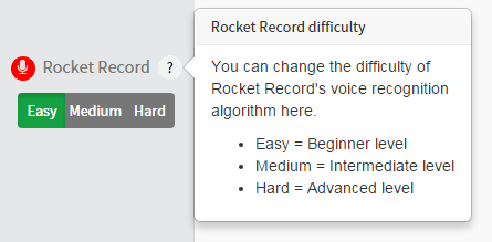 Rocket Record difficulty settings
